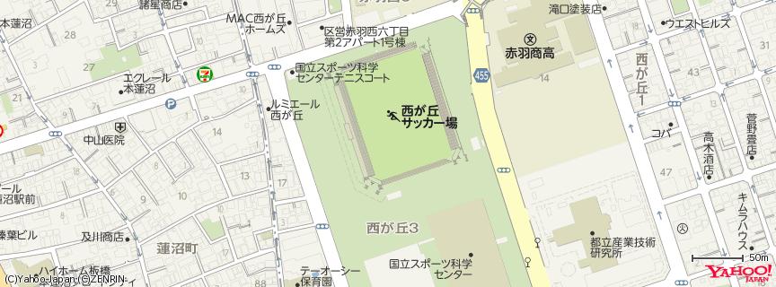 国立スポーツ科学センター 西が丘サッカー場 地図