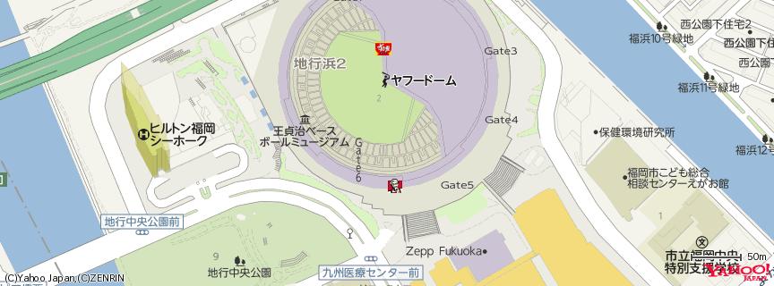 福岡ヤフオク!ドーム 地図