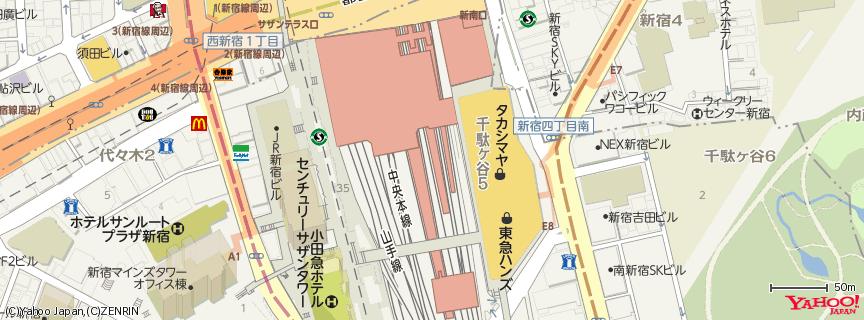 新宿タカシマヤ 地図