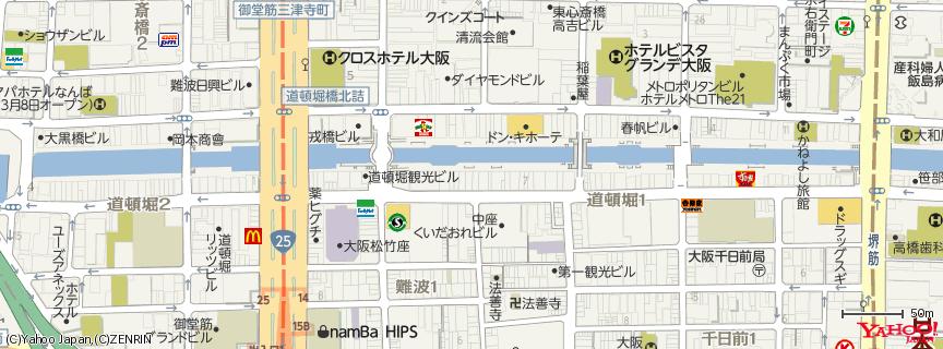 道頓堀 Dōtonbori 地図