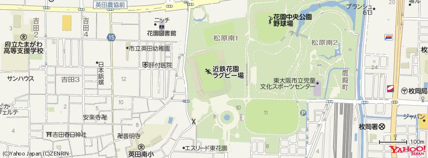 近鉄花園ラグビー場 地図