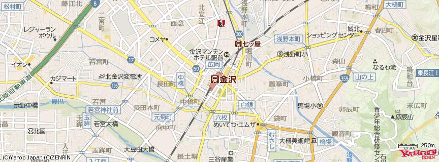 JR金沢駅 - Kanazawa station 地図