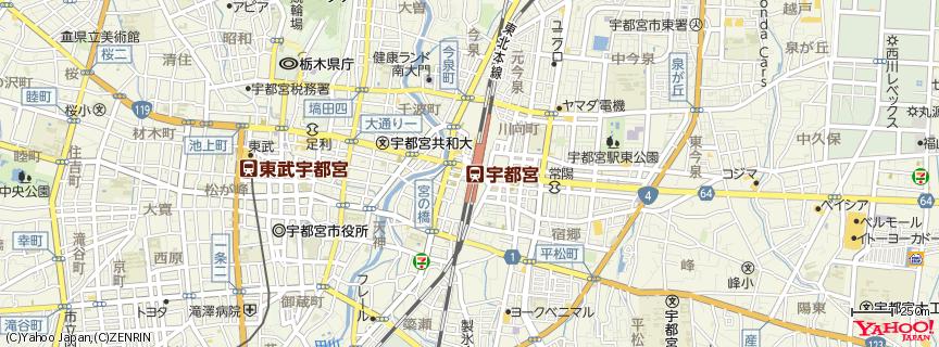 宇都宮駅 Utsunomiya station 地図
