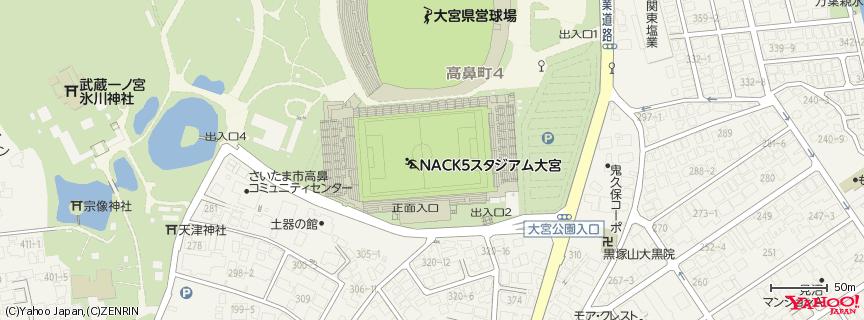 NACK5スタジアム大宮 地図