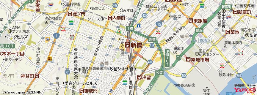 新橋駅(Shimbashi Station) 地図