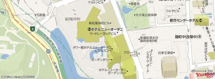 ホテルニューオータニ  Hotel New Otani Tokyo 地図