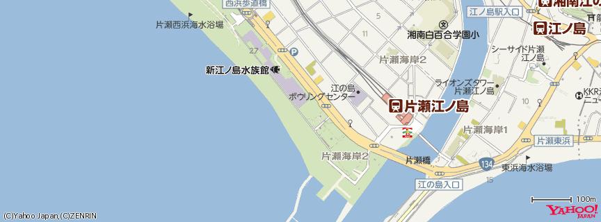 片瀬西浜海岸 地図
