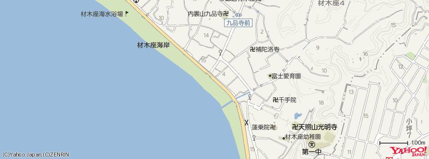 材木座海岸 Zaimokuza beach 地図