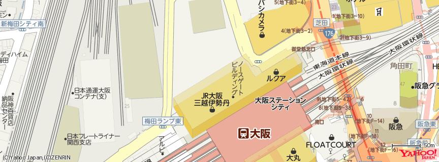 JR大阪三越伊勢丹 地図