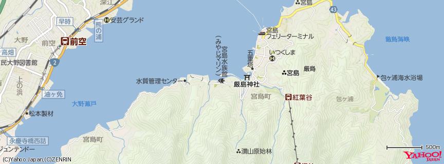 宮島水族館みやじマリン 地図