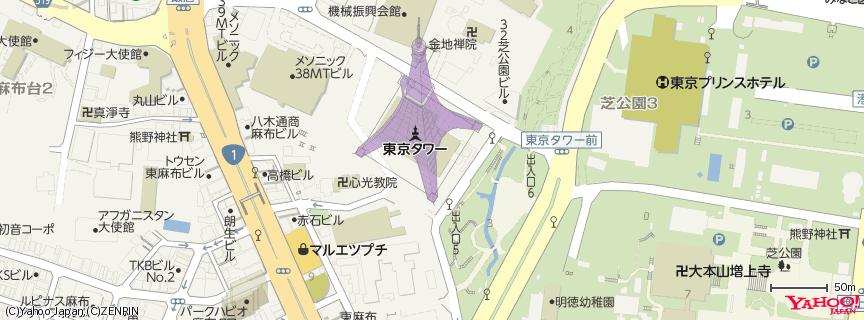 東京タワー Tokyo Tower 地図